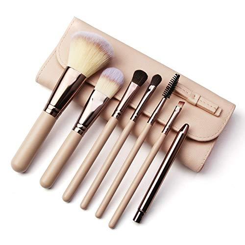 7 PCs Maquillage Pinceau Naturel Chèvre Synthétiques Synthétiques Fondation Kabuki Fard À Paupières Eyeliner Correcteur Poudre Brosse Kit Pinceaux à maquillage LTJHHX (Color : Rose, Size : Libre)