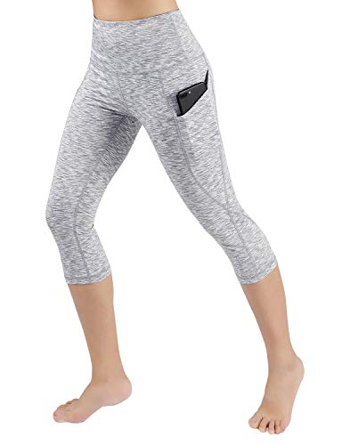 ODODOS Women's High Waisted Yoga Capris with Pocket, Workout Sports Running Athletic Capris with Pocket, Spacedye White,Large