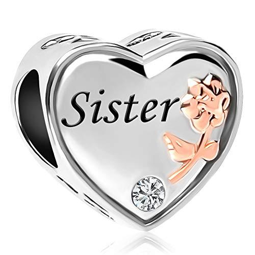 UNIQUEEN Sister Rose Flower Heart Love Bead Charms fit Charm Bracelet & Necklace