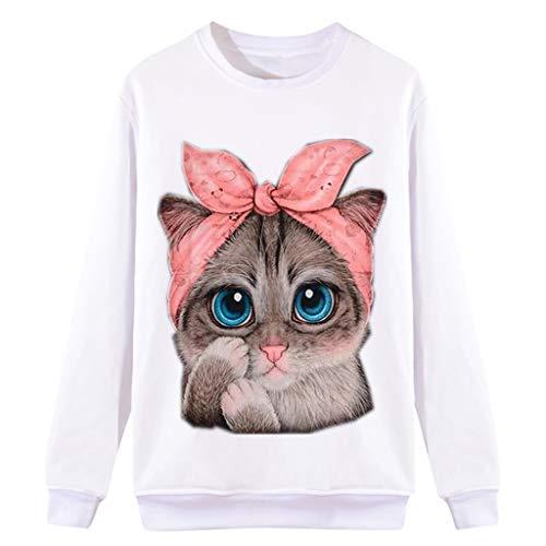 TUDUZ Sudadera Mujer Manga Larga Camisa Impresión del Gato Top Blusa Otoño e Invierno