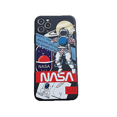 DASHUAI Lindo Astronauta De Dibujos Animados Espacio Transparente Funda para Teléfono Negra Divertida Cubierta Suave De TPU Volver,iPhone 6 6s