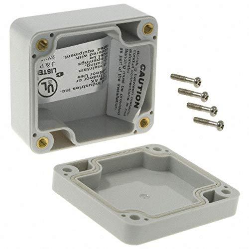 "BUD Industries PN-1320 Polycarbonate NEMA 4X Box, 2-33/64"" Length x 2-17/64"" Width x 1-3/8"" Height, Light Gray Finish"