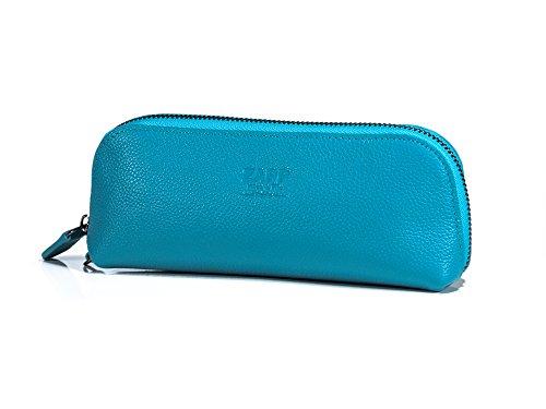 ZAPP - Trousse de maquillage en cuir de vachette de qualité - interieur et extérieur. (Couleur : Bleu Pacifique)