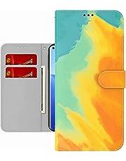 TYWZ Kleurrijke Schilderij Portemonnee Case voor OPPO Find X3 Neo,Aquarel Ontwerp Folio Flip PU Leer met Kaarthouder Slots Stand Functie Cover-Geel