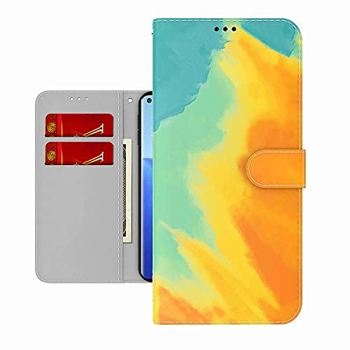 TYWZ Colorida pintura cartera funda para Samsung Galaxy A52 5G/4G, acuarela diseño funda tipo libro PU piel Flip Case con portatarjetas magnético amarillo