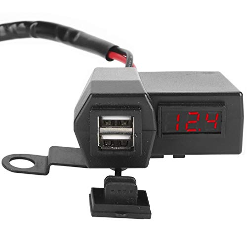 Enchufe de cargador USB dual universal con pantalla ABS(Red light)