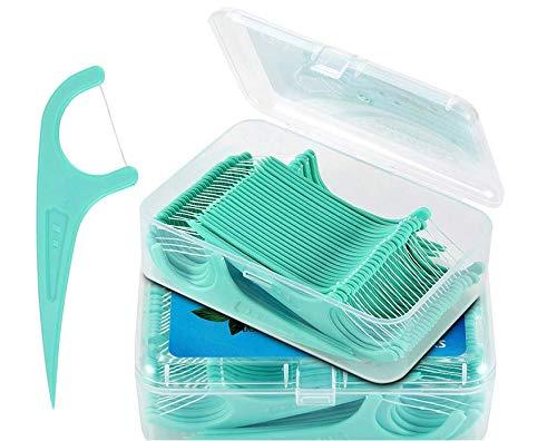 Seda dental, 200 unidades de palillos de seda dental con mango de plástico, aletas dentales / cuidado dental interdental con soporte para hilo dental, palillos de dientes con palillo (4 x 50 unidades)
