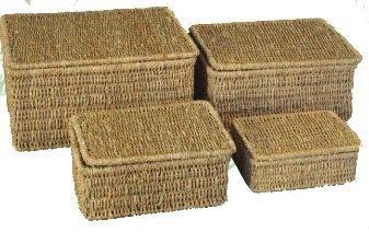 woodluv Aufbewahrungskörbe aus Seegras, mit Deckel, 4-er Set