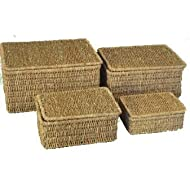 Woodluv SET OF 4 SEAGRASS STORAGE BASKET BOX WITH LID