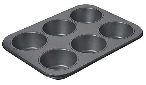 Kitchencraft Chicago metálico profesional antiadherente molde para 6gigante, 35,5x 27x 4,5cm (14'x 10,5x 6cm), color gris