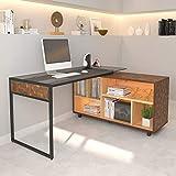 Techni Mobili RTA-385DL-OAK L-Shape Corner Desk with Multiple Storage, Oak