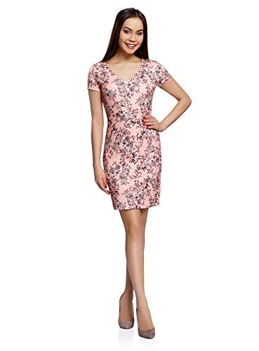 oodji Collection Damen Kleid aus Strukturiertem Stoff mit V-Ausschnitt, Rosa, DE 36 / EU 38 / S
