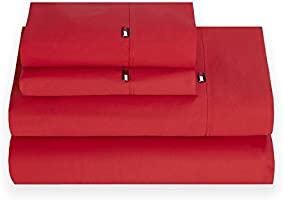 Tommy Hilfiger Signiture Solid Sheet Set, Queen, Red