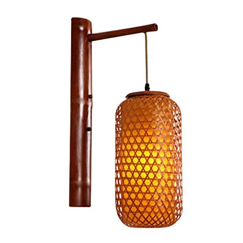 Decals wandlamp, wandlamp schaduw bamboe en rotan breien thuis slaapkamer woonkamer gang wandlamp verlichting
