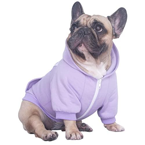 iChoue Pet Clothes Dog Hoodie Sweatshirt Coat for Medium French Bulldog Frenchie Pug English Corgi Boston Terrier Cotton Winter Warm Clothing - Light Purple/Size M