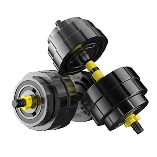 Dumbbells Health Adjustable Dumbbell Rubberized Dumbbell Set 2 in 1 Dumbbell Pair Including Connecting Rod,5 Weights Available for Home Dumbbells Cheap,Yellow,2X15Kg