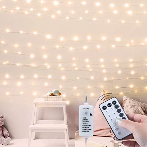 USB Fairy String Lights with Remote & Power Adapter, 66Ft 200 LED Firefly Lights for Bedroom Wall Ceiling Christmas Tree Wreath Craft Wedding Party Decoration, Warm White