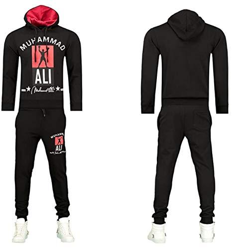 iProfash Herren Trainingsanzug/Muhammad Ali Jogging Sport Hose Hoodie Slim fit Schwarz XL