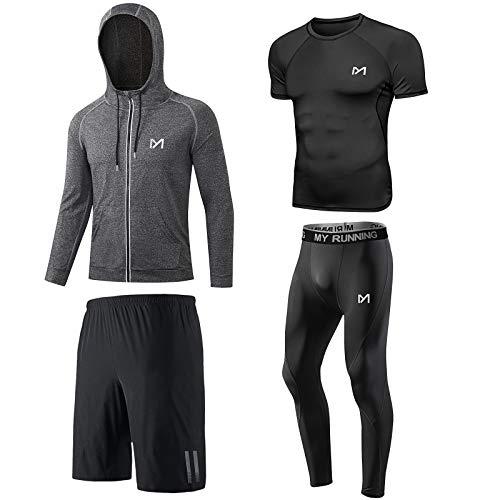MEETYOO Maglietta Compressione Uomo, Leggings Sportivi Maglie Maniche Lunghe Giacche Pantaloni Palestra T Shirt per Corsa Ciclismo Fitness