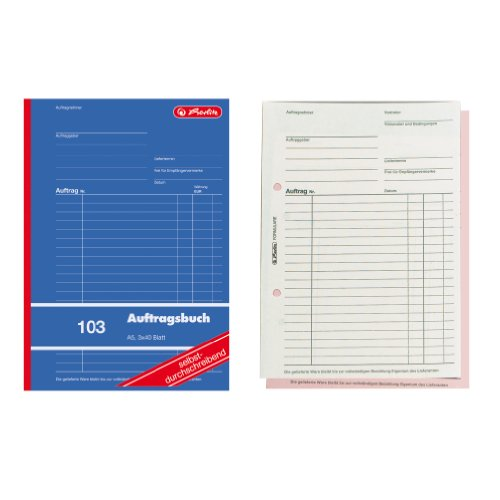 Herlitz 880534 Auftragsbuch A5 103 3x40 Blatt selbstdurchschreibend