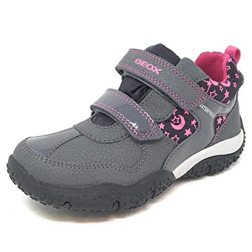 Geox Mädchen Boots Baltic Girl WPF, Kinder Winterstiefel,lose Einlage,wasserdicht, Maedchen toben Spielen,DK Grey/Fuchsia,29 EU / 11 UK Child