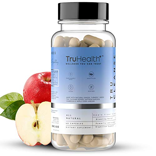 Apple Cider Vinegar Capsules w Garcinia Cambogia - for Weight Loss, Fat Synthesis, Detox & Bloating Relief - 60 ACV Keto Supplement Diet Boost Pills (1-Pack) by TruHealth