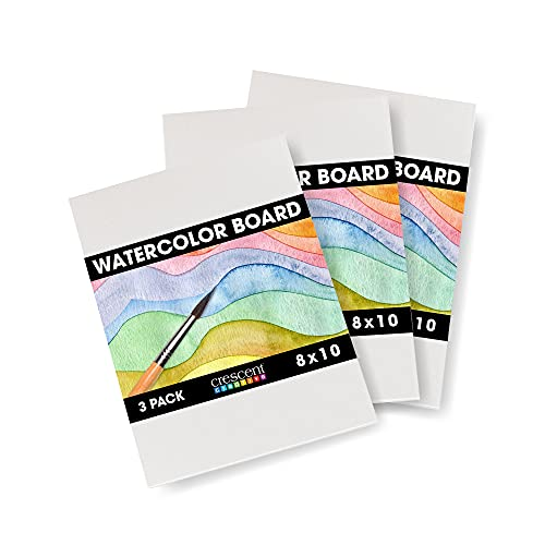 Crescent Creative Products Crescent Art & Illustration Watercolor Board, 8' x 10', White 3 Count