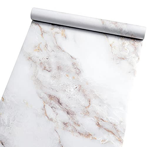 Marble Self Adhesive Paper Granite 35.4'x78.7' White/Gold Roll Peel and Stick Wallpaper Vinyl Film for Furniture Decorate Matte Removable Wallpaper Countertop Cabinet Bathroom Marble Paper