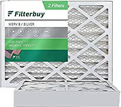 FilterBuy 24x25x4 Air Filter MERV 8, Pleated HVAC AC Furnace Filters (2-Pack, Silver)