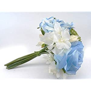 for Blue CR. Rose Dahlia Hydrangea Bundle Artificial Silk Flowers 10″ Bouquet 8217BL Floral Décor Home & Garden