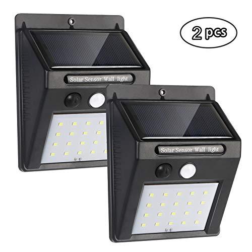 flintronic 3 Modi Solarlicht, Superhelle Solarlicht 120° für Garten, 20 LED Solarleuchte, Solarlampen für Außen, wasserdichte Wandleuchte - 2 Stück