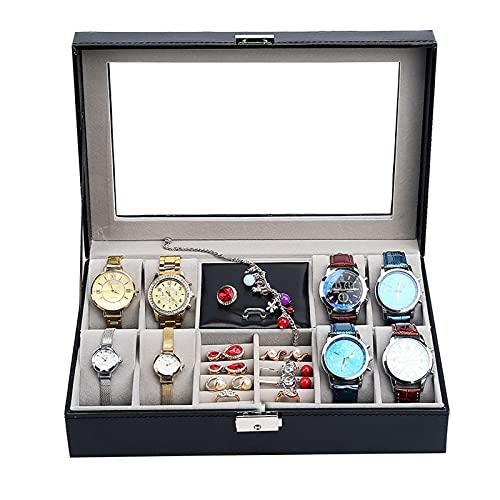 OMIDM Jewelry Box, Watch Box 6 Slots Watch Organizer Jewelry Mostrar Caja Organizador con Cajón De Joyería para Almacenamiento Y Pantalla Black Black