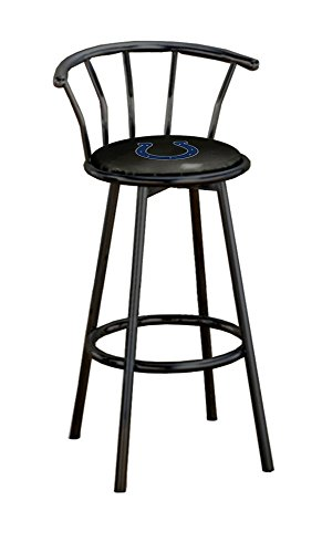 The Furniture Cove 1-29' Tall Black Metal Custom Made Specialty Swivel Seat Bar Stool Featuring Your Favorite Football Team Logo on a Colored Vinyl Seat Cushion (Colts - Black Vinyl)