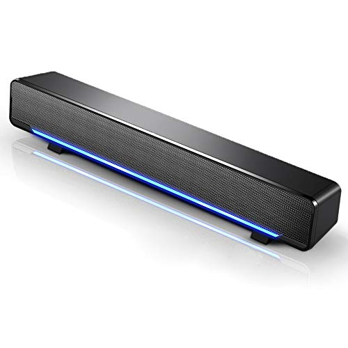 Docooler - Altoparlante per computer, mini portatile USB cablato Soundbar Home Theater Stereo subwoofer potente lettore musicale box con spina audio da 3,5 mm per PC, laptop, TV, MP3, MP4