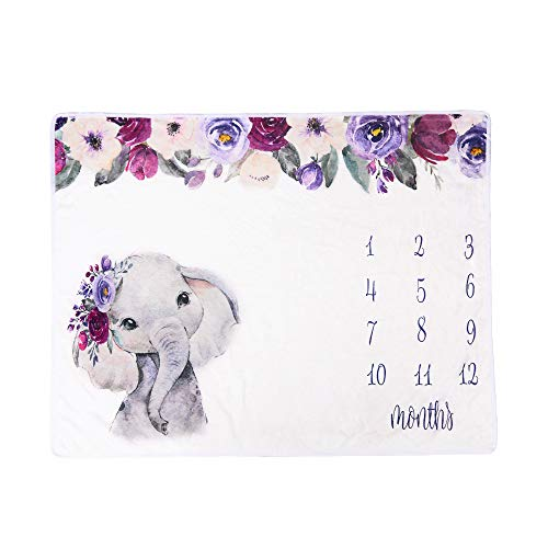 Ponacat Manta de Hito Mensual para Bebés Accesorios para Fotos de Recién Nacidos Manta de Franela de Elefante de Fondo