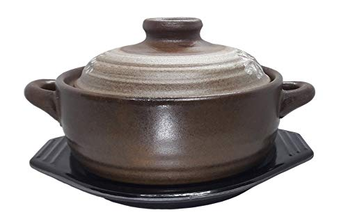 16.9ounce(500cc) Korean Traditional Ceramic Stone Bowl with Trivet for Dolsot Bibimbap Stew Soup