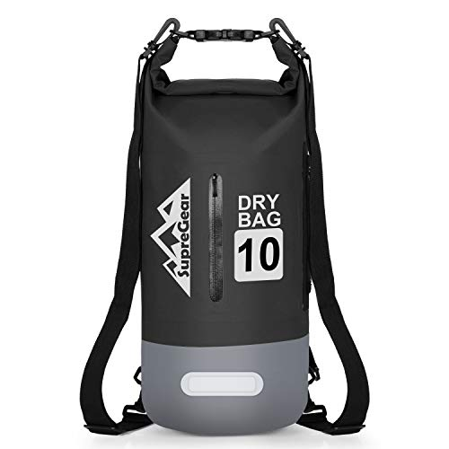 supregear Bolsa Seca Impermeable, 5 litros Bolsa de Almacenamiento Duradera Saco Ditty Bag y Correa de Hombro Ajustable para Kayak Acampada Canotaje Senderismo Actividades Al Aire Libre - Negro