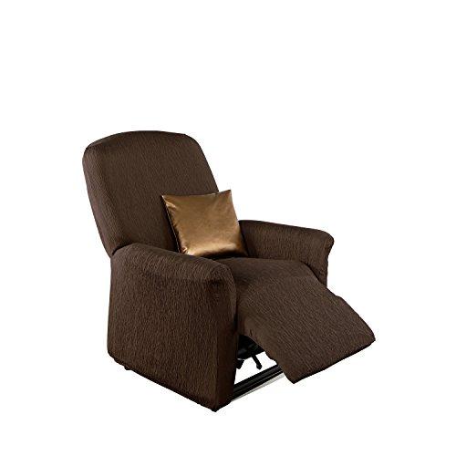 Erwin Müller Stretchbezug, Stretchhusse, Bezug für Relax-Sessel braun - Krepp-Struktur, praktische Gummizüge, pflegeleicht, strapazierstark (weitere Farben, Größen)
