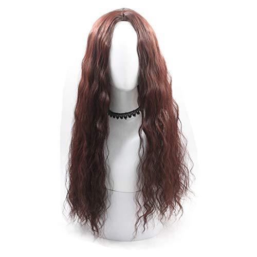 Hexiaoyi Dames perruque Oblique Frange longs cheveux bouclés maïs nécessaire à repasser (Color : Light brown)