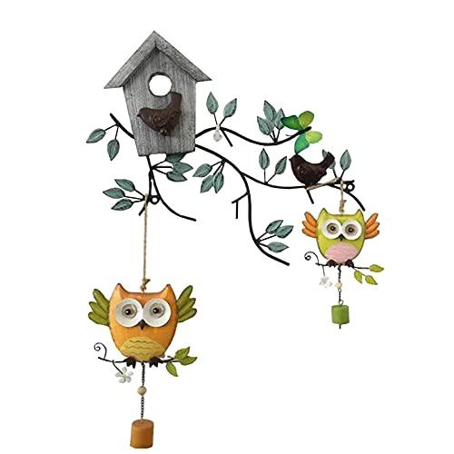 Escultura de escritorio Jardín pared decoración accesorios metal pájaro estatua pared arte escultura hojas de hierro labrado y ramas dos estatuillas de búho amarillo-verde colgadas