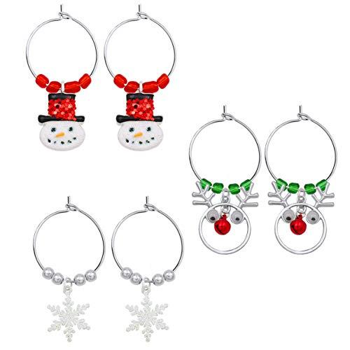Gleamart 3 Pairs Christmas Hoop Earrings Set Gifts for Women Christmas Snowman Reindeer Snowflake Dangle Earrings