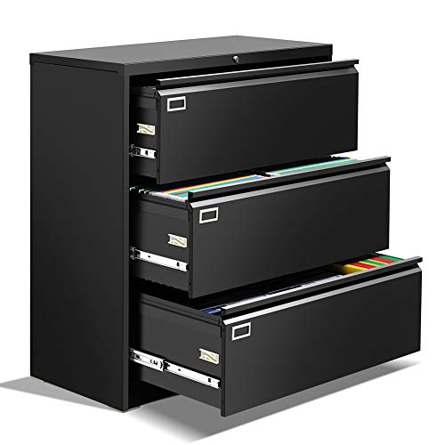 3 Drawer Lateral File Cabinet with Lock, Black Metal Lateral Filing Cabinet for Legal/Letter A4 Size, Locking Wide File Cabinet with Drawers for Office Home INTERGREAT
