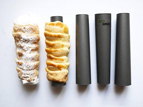 Eco Haus Living Cannoli Tube Siciliani - Moule Revêtement anti-adhésif - pour la production de tubes à crème de desserts d'entrées et de mini-desserts (13cm)