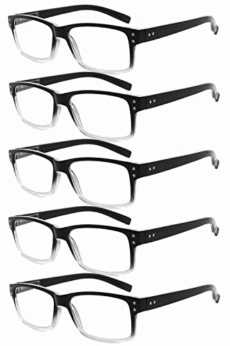 Eyekepper Mens Non-Magnification Glasses-5 Pack Black-Clear Frame Glasses for Men,+0.00 Eyeglasses Women