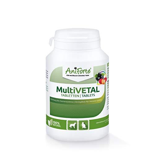 AniForte MultiVETAL Multivitamínico para perros y gatos 250 comprimidos – Multivitamínico y nutrientes naturales para un suministro óptimo, ayuda para las defensas naturales