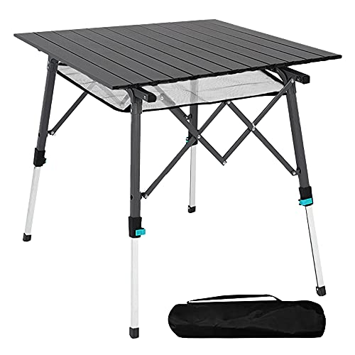 Mesa de camping plegable con tablero de aluminio, ligera, plegable, portátil, con bolsa de transporte, 70 x 70 cm, mesa...