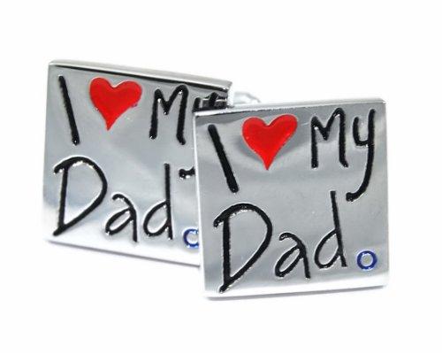 """Gemelolandia Boutons de manchette avec Motif """"i love my dad de forme carrée Blanc-Noir-Rouge blanc"""
