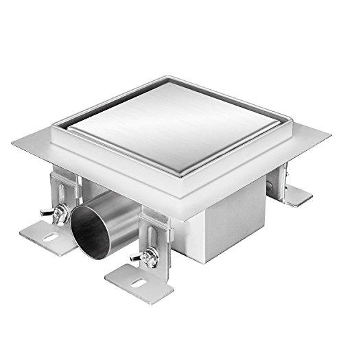 Zelsius Moderne Edelstahl Duschrinne | Verschiedene Modelle und Größen für ebenerdige Dusche | quadratischer Bodenablauf, Duschablauf, Bodenrinne (Noosa, 15 x 15 cm)