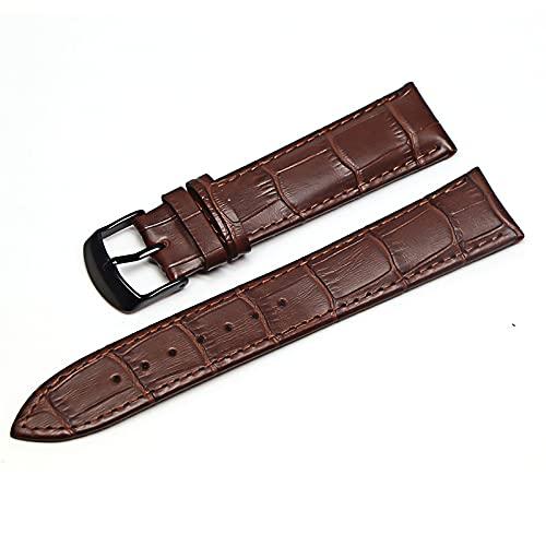 Banda de reloj Correas de cuero genuino Relojes 12mm 18 mm 20 mm 22mm Accesorios de relojes adecuados para relojes Galaxy Watch Gear (Band Color : Brown Black, Band Width : 18mm)