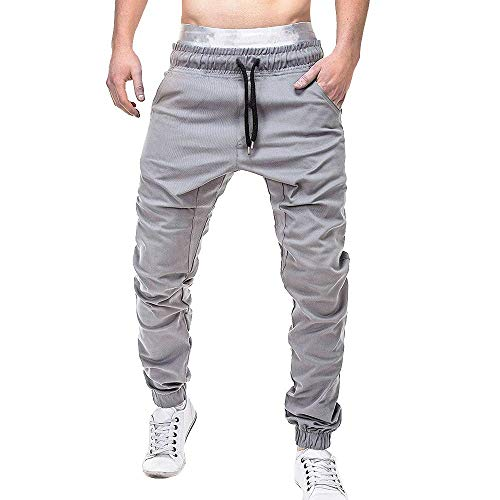 Homme Ceinture élastique à Long Coton Jogging Pantalons de Survêtement Grande Taille Mode Sport Cargo Pantalons Pants avec Poches Joggers Activewear Pantalons